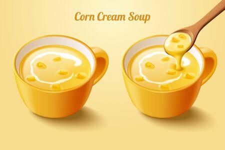 Zuppa di crema di mais con cucchiaio in illustrazione 3d su sfondo giallo chiaro