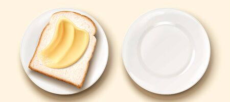 Butter spread on toast in 3d illustration Ilustracja