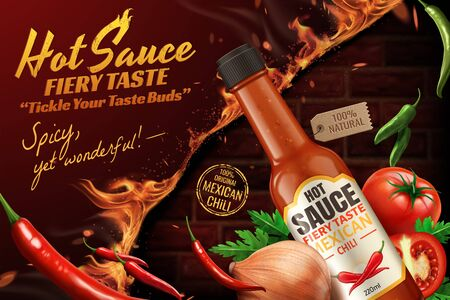 Mexican chili hot sauce ads with fire brick wall background in 3d illustration