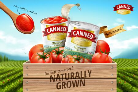 Canned tomato ads with fresh ingredients on green field background, 3d illustration