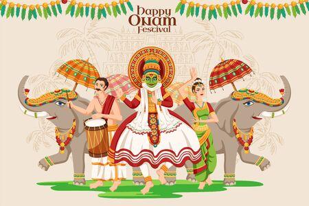 Diseño del festival Happy Onam con bailarina de Kathakali y procesión de elefantes sobre fondo beige