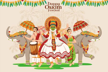 Happy Onam festival design with kathakali dancer and elephant procession on beige background Illusztráció