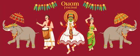 Onam festival characters on burgundy red banner Ilustração