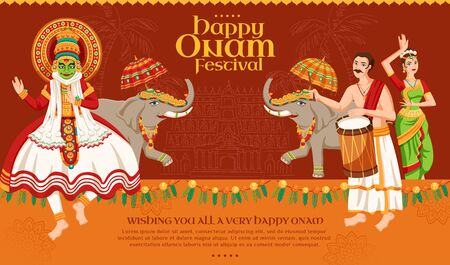 Happy Onam festival design with kathakali dancer and elephant procession on dark orange background Illusztráció