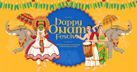 Happy Onam festival design with kathakali dancer and elephant procession on yellow background