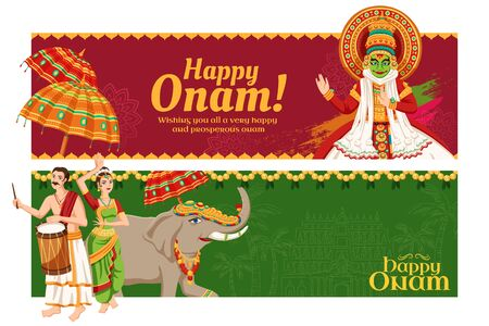 Happy Onam festival banner design in burgundy red and green