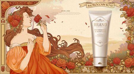 Hautpflege-Kunststoffröhren-Werbung mit Mucha-Göttin, die Rosen im Garten hält, Retro-Jugendstil Vektorgrafik