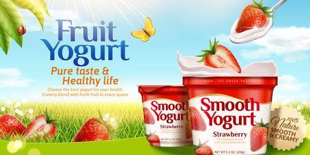 Strawberry yogurt ads with fresh fruit on glittering grass background in 3d illustration