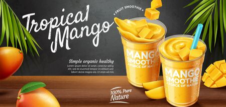 Mango smoothie banner ads on blackboard and wooden table background in 3d illustration
