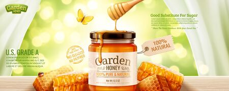 Nature honey banner ads with honeycomb and liquid dripping down from top on glitter green background in 3d illustration