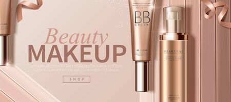 BB cream foundation ads with creamy texture in 3d illustration Vetores