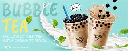 Anuncios de banner de té de burbujas con salpicaduras de leche y hojas verdes, ilustración 3d
