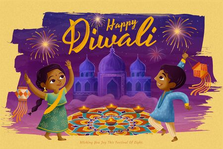 Happy Diwali design with children holding traditional lantern in front of rangoli on purple background
