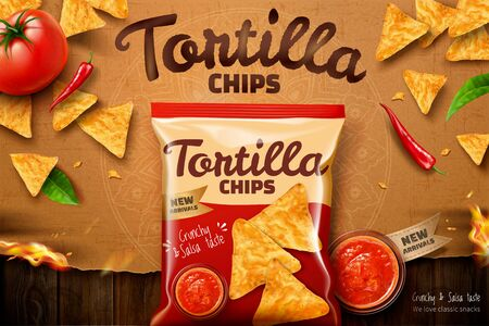 Tortilla chips ads with salsa sauce and corn flakes on kraft paper background in 3d illustration, top view perspective