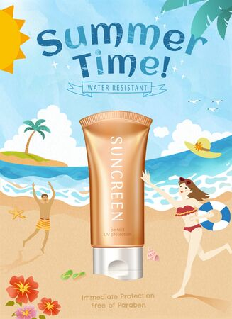 3d illustration summer sunscreen product with lovely doodle style beach scene poster