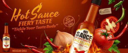 Hot sauce ads with chilli and burning fire effect in 3d illustration