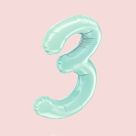blue right tilt foil balloon number 3 isolated on pink color background, 3d rendering