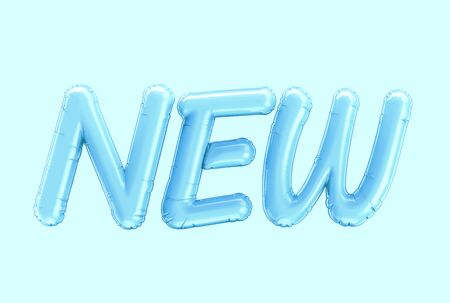 3d render blue NEW balloon phrase on blue background Foto de archivo - 135473955