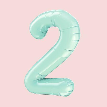 blue left tilt foil balloon number 2 isolated on pink color background, 3d rendering 版權商用圖片