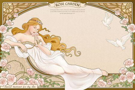 Elegante dea in stile art nouveau che giace vicino al giardino di rose con cornice elaborata Vettoriali