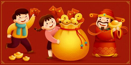 God of wealth and children holding gold ingot and red packets characters set