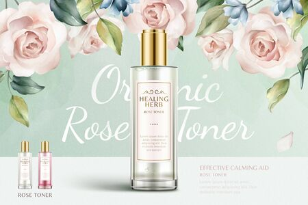 Romantic rose toner ads with beautiful watercolor roses background in 3d illustration, turquoise and pink color Illustration
