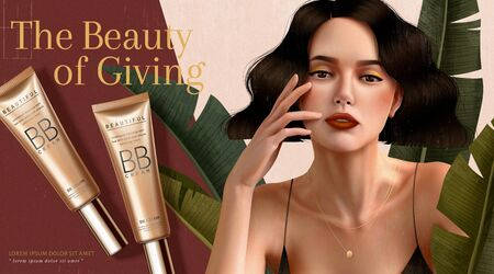 BB cream ads with brunette woman who wears spaghetti strap dress in 3d illustration