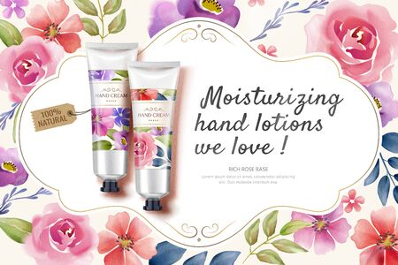 Flat lay hand cream ads with colorful watercolor style floral frame in 3d illustration