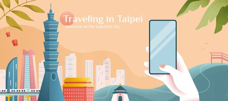 Taking a beautiful picture of Taipei city skyline in flat style, designed from the concept of tour advertising famous city landmarks Çizim