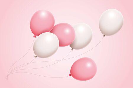 3D illustration gorgeous set of pink and white balloons float in air, for birthday, anniversary, celebration, event design Vektorgrafik