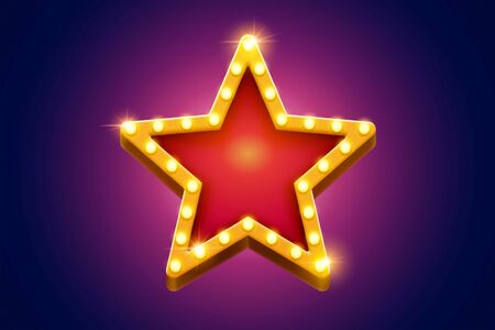 Retro marquee light red star decoration with yellow frame glowing on purple background, broadway style Vetores