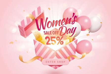 Women's Day sale pop up ads for with design concept of opening a surprising gift, decorated by cute balloons and additional coupons Çizim