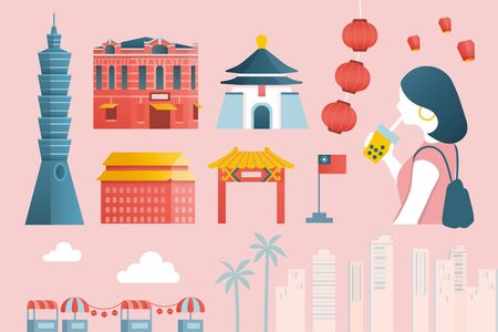 Taiwan tourism element set in flat style, inspired by the concept of enjoying a leisure sightseeing tour in Taipei