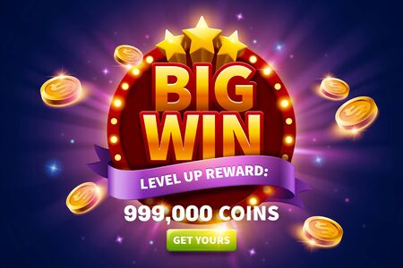 Big win pop up ads with golden coins flying out from round marquee light board for publicity, glittering purple background and green button Vektorgrafik