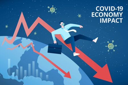 Concept of COVID-19 global economy impact, with a businessman dramatically sliding down along a declining market chart
