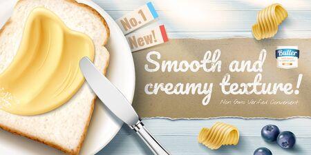 Annonces de beurre crémeux avec de délicieux toasts sur une table en bois bleue en illustration 3d, perspective à plat Vecteurs
