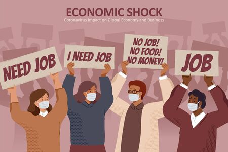 Unemployed people with face masks holding protest signs and asking for jobs, concept of layoff and unemployment caused by COVID-19 pandemic