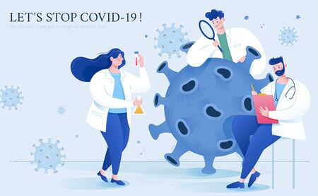 Thank you banner for virus scientists in flat style, with scientists working together to find effective vaccine and treatments for COVID-19 向量圖像