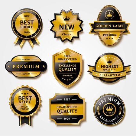 Nützliche Sammlung von Abzeichen und Etiketten in Metallstruktur, für hochwertige Produktverpackungen, isoliert auf weißem Hintergrund