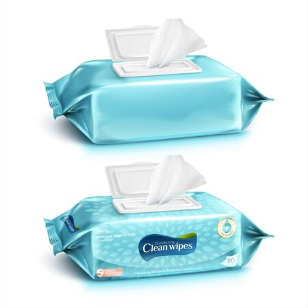 Set of cleaning wipes in light greenish blue design, one with package design and one without, 3d illustration Vettoriali