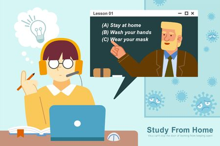 Student studying from home through laptop, Concept of online learning flat illustration during COVID-19 outbreak