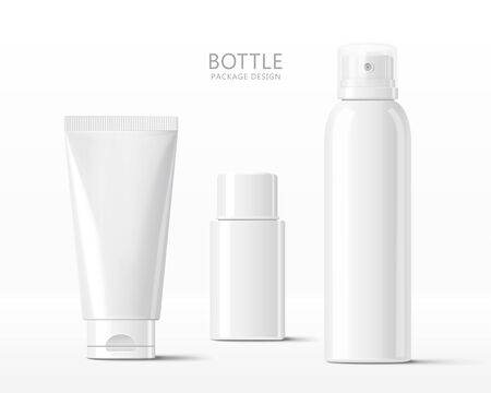 Set of various blank cosmetic bottle mock-ups, isolated on white background, 3d illustration