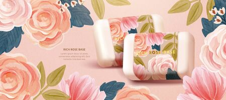 Cosmetic banner template merging realistic botanical soaps with cute watercolor hand drawn floral background, inspired by the concept of simple natural skincare, 3D illustration Vettoriali