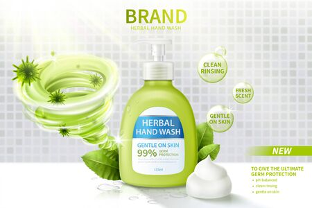 Ad template of hand wash, realistic dispenser bottle decorated with disinfecting vortex, herbal leaves and creamy lather, 3d illustration Vettoriali