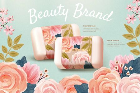Horizontal cosmetics ad template combined with realistic rose soap mock-up and watercolor hand drawn floral background, inspired by the concept of simple natural skincare, 3D illustration