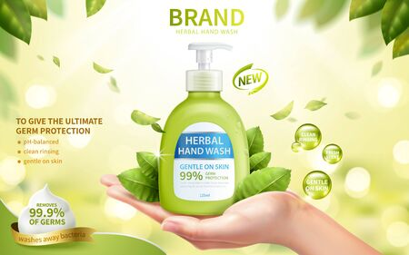 Ad template of fresh herbal hand wash, realistic female hand in open palm gesture with dispenser bottle, 3d illustration Vecteurs