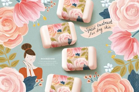 Cosmetic ad template with realistic rose soap mock-up set on cute watercolor hand drawn floral background, designed for natural skincare branding, 3D illustration Vetores