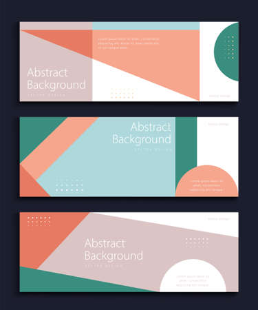 Abstract banner template set, with trendy geometric shapes, for web banner, header and background use