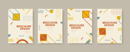 Collection of cover template in retro Memphis style, designed with classic geometric patterns in earth tone