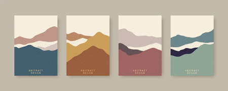 Collection of Nordic style cover template, designed with abstract mountain landscapes in earth tone